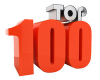 Attractive TOP 100 3d-text. Beautiful TOP 100 3d-text with nice reflections isolated on white Royalty Free Stock Images