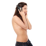 Attractive topless woman with headphones Royalty Free Stock Photography
