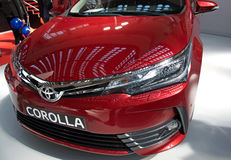 2017 Attractive Toyota Corolla SX Sedan vehicle. Promotion of elegant, attractive and sporty designed new Toyota Corolla SX Sedan vehicle at Belgrade Motor Show Stock Photo