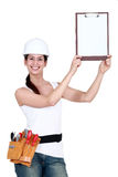 Attractive tradeswoman Stock Images
