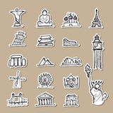 Attractive travel location drawing icons paper cut Stock Photography