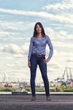 Attractive trendy woman posing outdoors Royalty Free Stock Images