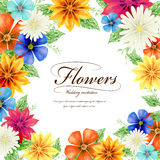 Attractive tropical style floral wedding invitation template Stock Photography