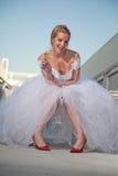Attractive twenties caucasian blonde bride Stock Images