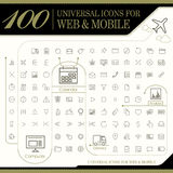Attractive 100 universal icons set. For website and mobile royalty free illustration