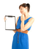 Attractive university student girl with clipboard Stock Images
