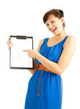 Attractive university student girl pointing on clipboard Stock Images