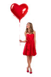 Attractive Valentine's Day girl with balloon Stock Image