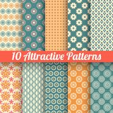Attractive vector seamless patterns (tiling). 10 Attractive vector seamless patterns (tiling). Blue, orange colors. Texture for printing onto fabric, paper Royalty Free Stock Image