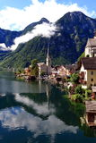 Attractive view of houses and building in Hallstatt royalty free stock photos