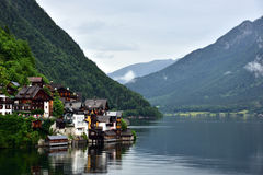Attractive view of houses and building in Hallstatt stock photos