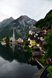 Attractive view of houses and building in Hallstatt royalty free stock photography