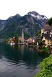 Attractive view of houses and building in Hallstatt royalty free stock photo