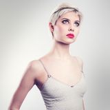 Attractive vintage blonde woman model Royalty Free Stock Images