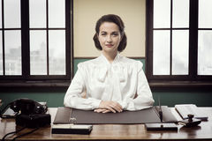 Attractive vintage business woman Royalty Free Stock Images
