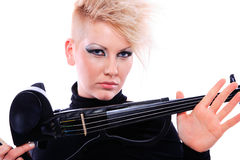 Attractive violinist playing the electric violin Stock Photography