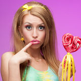 Attractive vivid candy girl Royalty Free Stock Photography