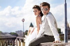 Attractive wedding couple Stock Images