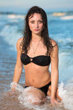 Attractive wet brunette Stock Photos