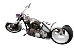 Attractive white motorcycle isolated Stock Photo