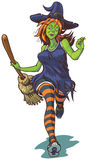 Attractive Witch Running with Broom Cartoon Illustration Royalty Free Stock Photos