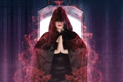 Attractive witch woman showing her magic power stock images