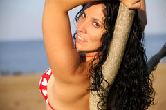 Attractive Woman. A portrait of a sexy middle-aged woman wearing a bikini, leaning against a tree on a beach Royalty Free Stock Image