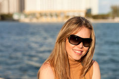 Attractive Woman along the Bay Stock Image