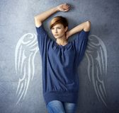 Attractive woman with angel wings Royalty Free Stock Photo