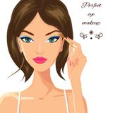 Attractive woman applying eyeshadow. Fashion. Attractive female applying makeup, eyeshadow on her eyes. Beauty, fashion and make up concept. Young woman with vector illustration