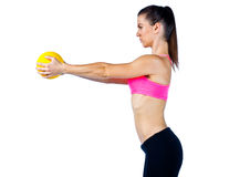 Attractive woman athlete with exercise ball Stock Image