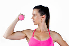Attractive woman athlete with weights Royalty Free Stock Images