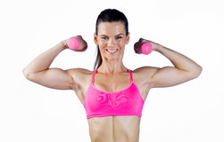 Attractive woman athlete with weights Stock Photo