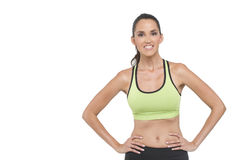Attractive woman in athletic wear. Fit woman in sports clothing, photographed in studio Royalty Free Stock Image