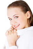 Attractive woman with a bathrobe Stock Photo