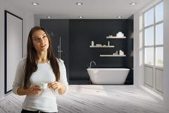 Attractive woman in bathroom stock photos