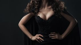 Attractive woman with beautiful Breasts, portrait on black background. Body parts royalty free stock photos