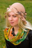 Attractive woman with a beautiful headdress Stock Photography
