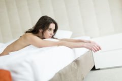 Attractive woman in bed Royalty Free Stock Photography