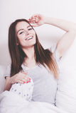 Attractive woman in the bed. Royalty Free Stock Image