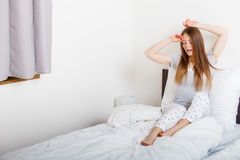 Attractive woman in the bed. Royalty Free Stock Images