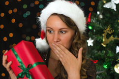 Attractive woman being surprised Royalty Free Stock Image