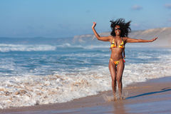 Attractive Woman in bikini on beach Royalty Free Stock Images