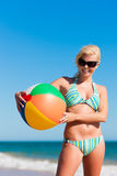 Attractive Woman in bikini on beach Royalty Free Stock Image