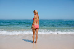 Attractive woman in bikini on the beach Royalty Free Stock Images