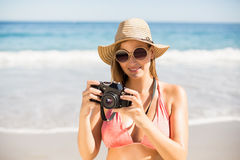 Attractive woman in bikini checking photographs Royalty Free Stock Image