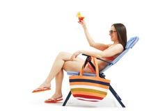 Attractive woman in bikini relaxing Royalty Free Stock Photo