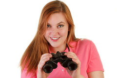 An attractive woman with binoculars Stock Photos