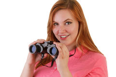 An attractive woman with binoculars Royalty Free Stock Photo