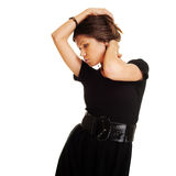 Attractive woman in black dress Stock Image